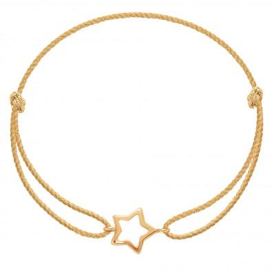 Bracelet avec une étoile ajourée en or585 sur un cordon épais doré premium
