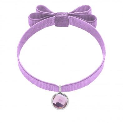 Bracelet avec pendentif quartz violet plaqué argent, sur ruban double noeud lavande