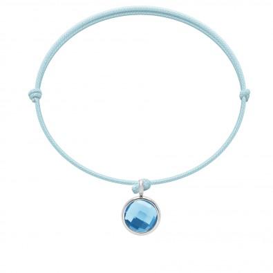 Bracelet avec pendentif quartz bleu plaqué argent, sur cordon fin bleu ciel