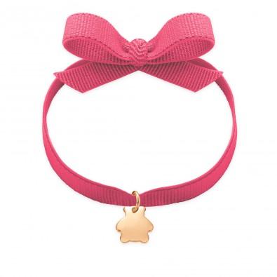 Bracelet ruban de couleur rose avec un ourson plaqué or