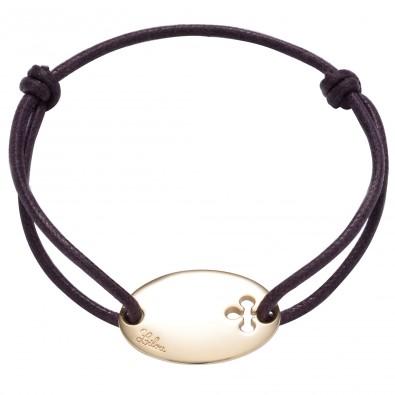 Bracelet cordon avec Plaque ovale
