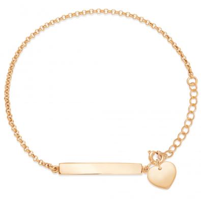 Le bracelet avec une plaque et un coeur plaqués or