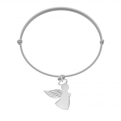 Bracelet avec ange aile ajourée 2 cm, argent, sur cordon fin gris clair