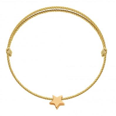 Bracelet avec une étoile Étincelle plaquée or sur un cordon épais doré premium
