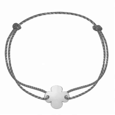 Bracelet avec un trèfle rond en argent sur un cordon épais noir premium