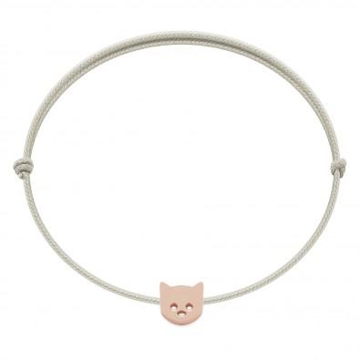 Bracelet avec chat Etincelle plaqué or rose, sur cordon fin perle