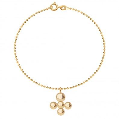 Bracelet avec pendentif Luck sur chaine maille boule, plaqué or