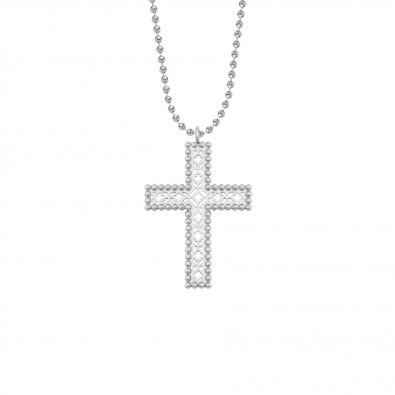Collier avec croix Barok 4,5 cm sur chaine maille boule, plaqué argent