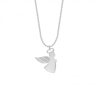 Collier avec ange aile ajourée 2 cm sur chaîne fine classique, argent