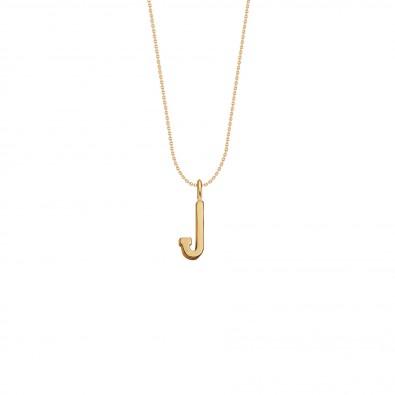 Collier avec lettre J sur chaine fine, plaqué or