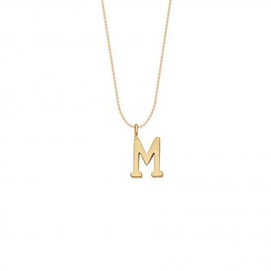Collier avec lettre M sur chaine fine, plaqué or