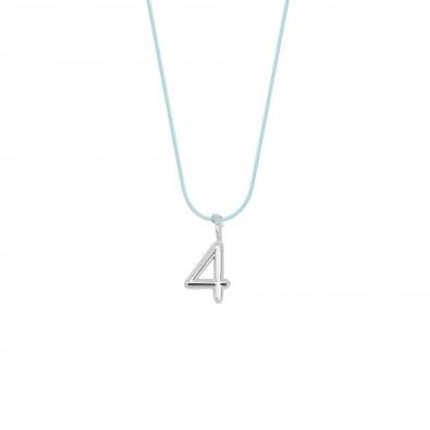Collier CONFIANCE, numéro 4 sur cordon bleu ciel, plaqué argent