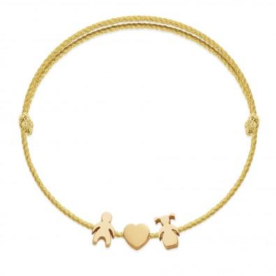 Bracelet avec un garçon plaqué or, un cœur et une fille Etincelle, sur un cordon épais doré premium