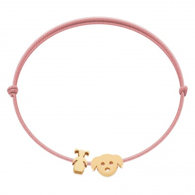 Bracelet avec fillette et chiot Etincelle plaqué or sur cordon fin rose