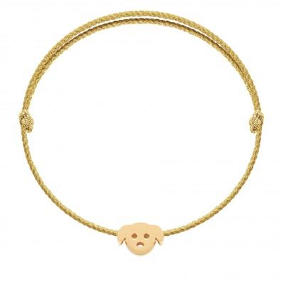 Bracelet avec chiot Etincelle plaqué or sur cordon premium épais doré
