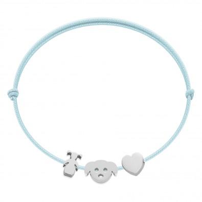 Bracelet avec fillette, chiot Etincelle et coeur en argent sur cordon fin bleu clair