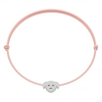 Bracelet avec chiot Etincelle argent sur cordon fin rose pâle