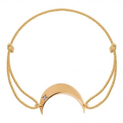 Bracelet Lune plaqué or sur un cordon épais doré premium