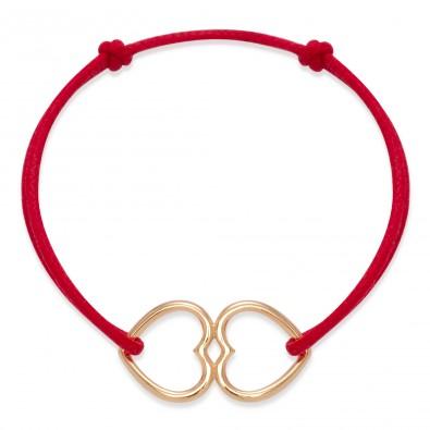 Bracelet avec Cœurs joints ajourés en plaqué or
