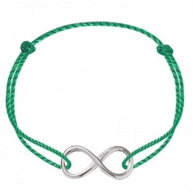 lilou bracelet avec un signe de l 39 infini en argent sur un cordon pais vert premium. Black Bedroom Furniture Sets. Home Design Ideas