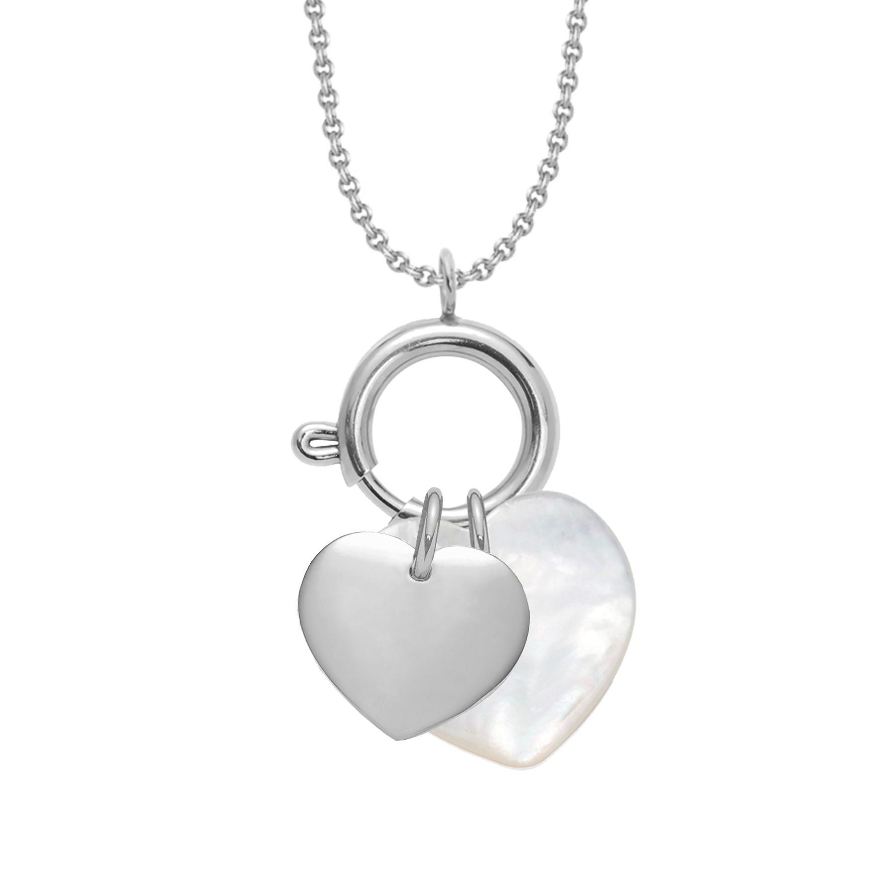 UN COLLIER-FERMOIR BIJOU, un cœur en argent et un cœur en nacre