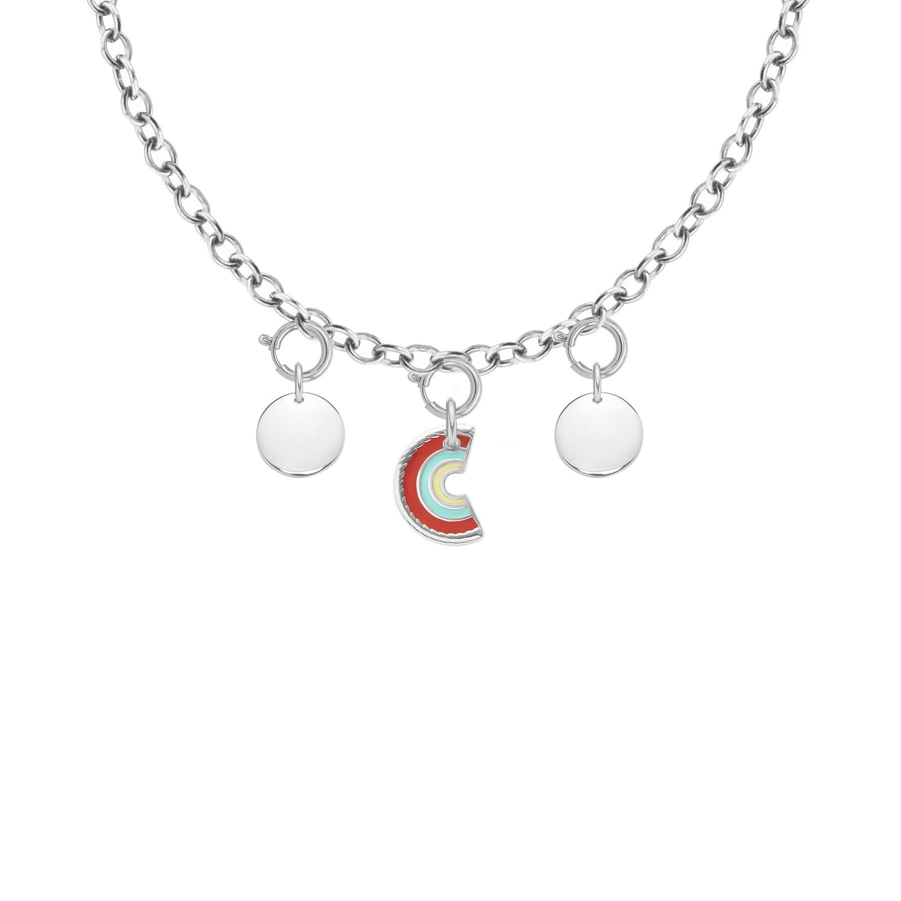 Collier Chaîne No.1 avec pendentif Rainbow et médaillon, plaqué argent
