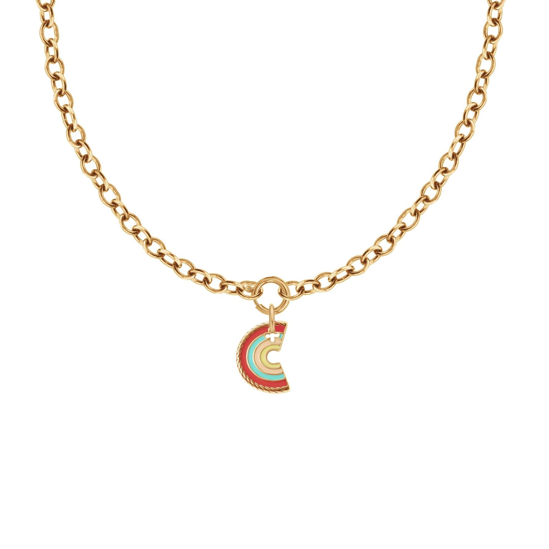 Collier Chaîne No.1 avec pendentif Rainbow, plaqué or