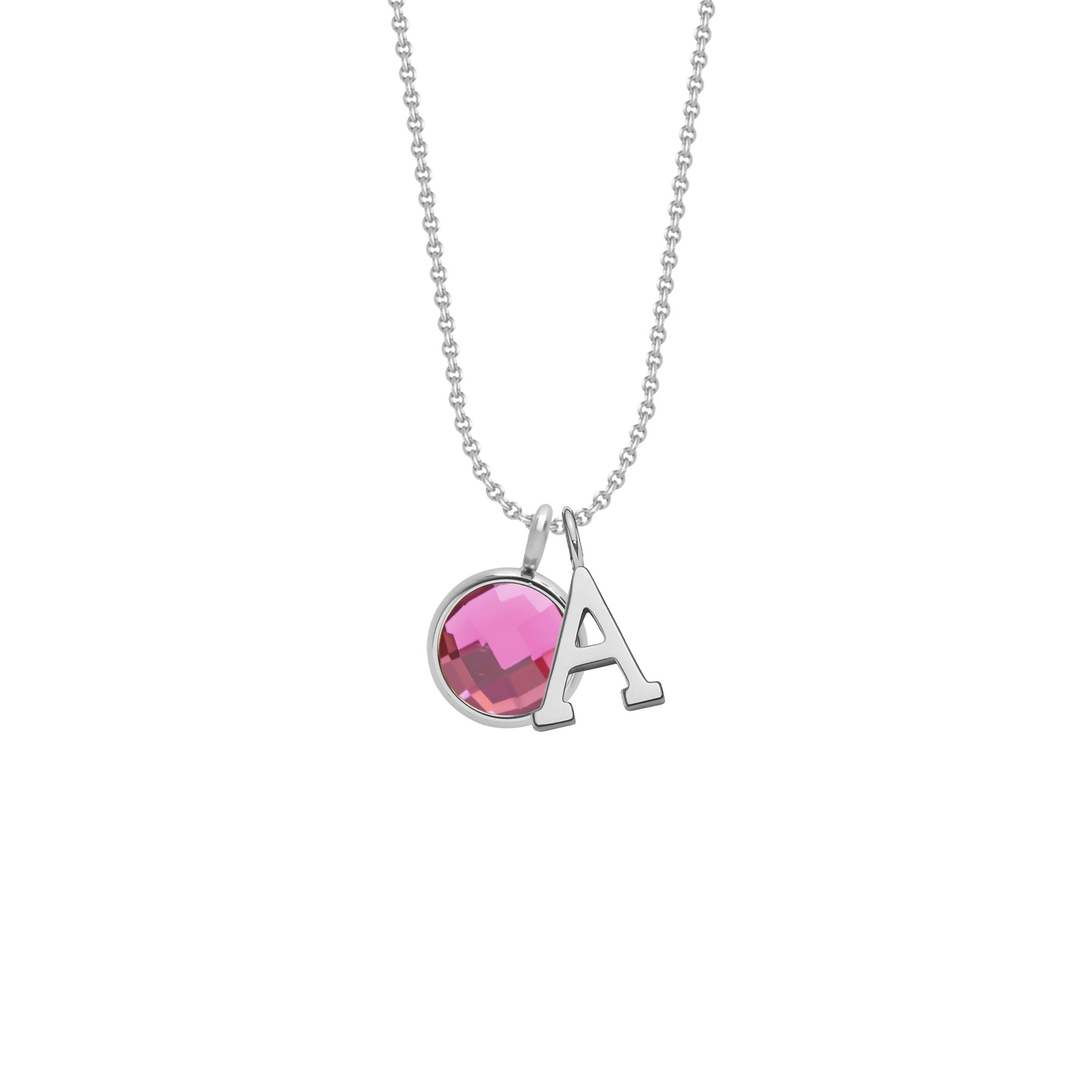 Collier avec lettre «A» et quartz rose sur chaîne fine classique