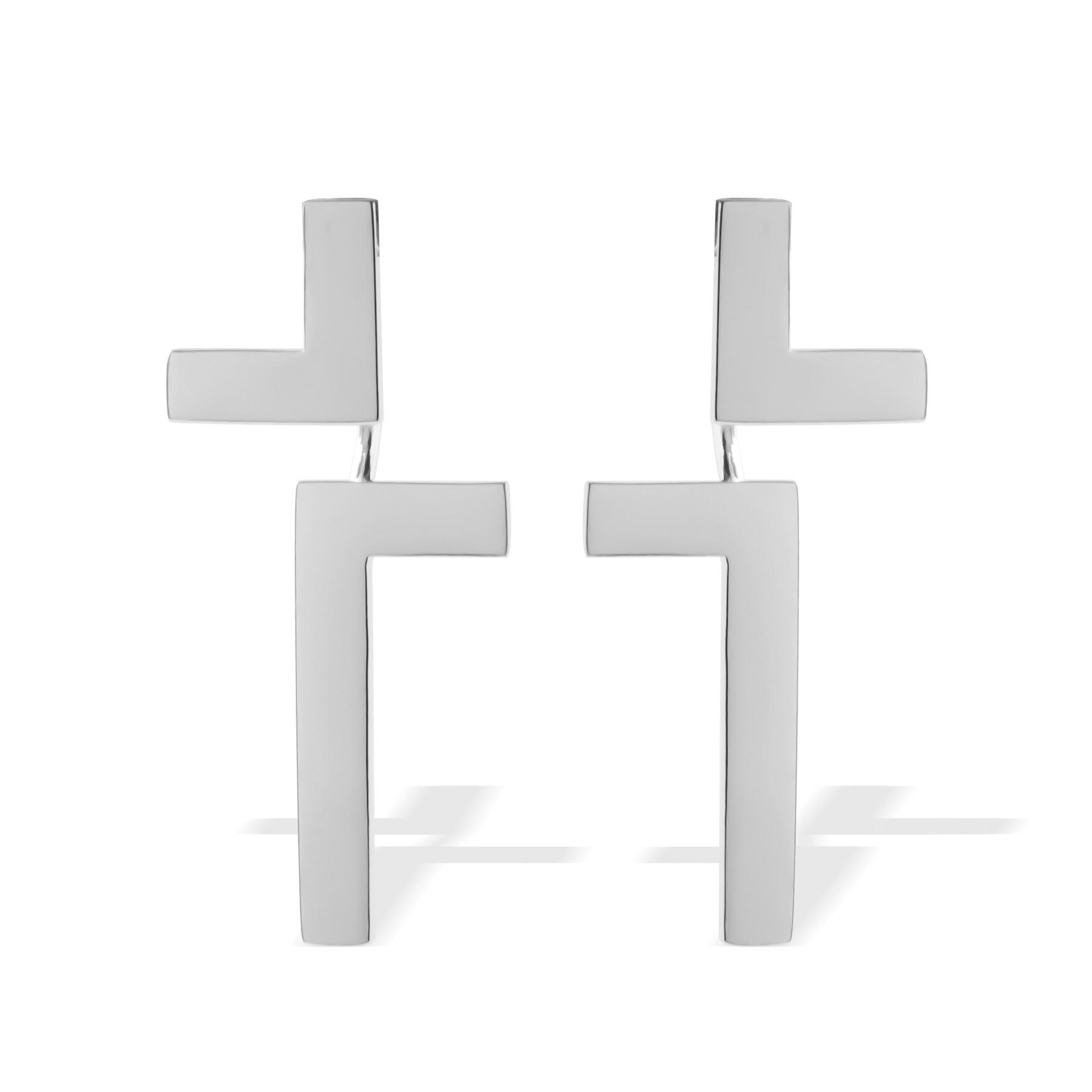 Boucles d'oreilles Cross, plaqué argent