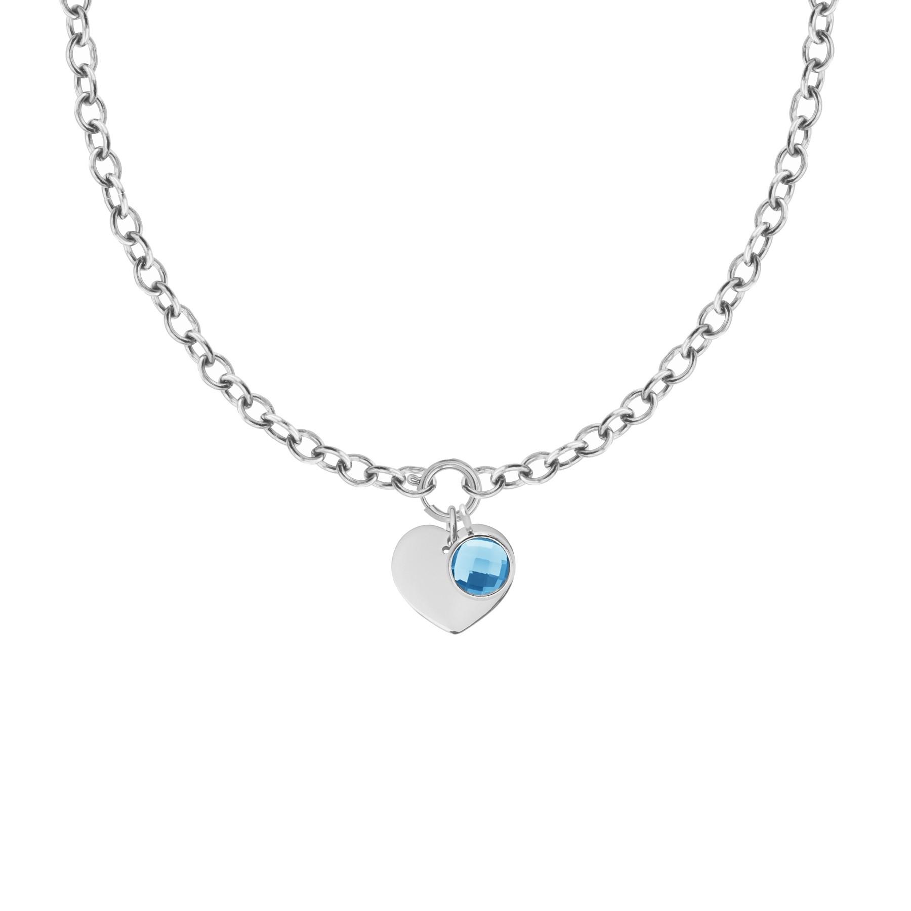 Collier Chaîne No.1 avec coeur et pendentif quartz bleu, plaqué argent