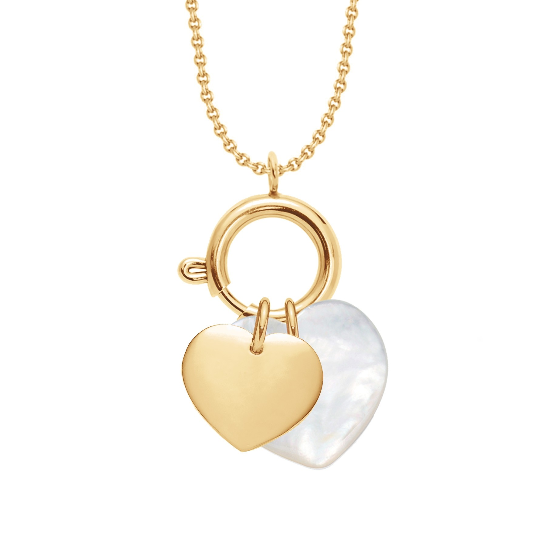 UN COLLIER-FERMOIR BIJOU, un cœur plaqué or et un cœur en nacre