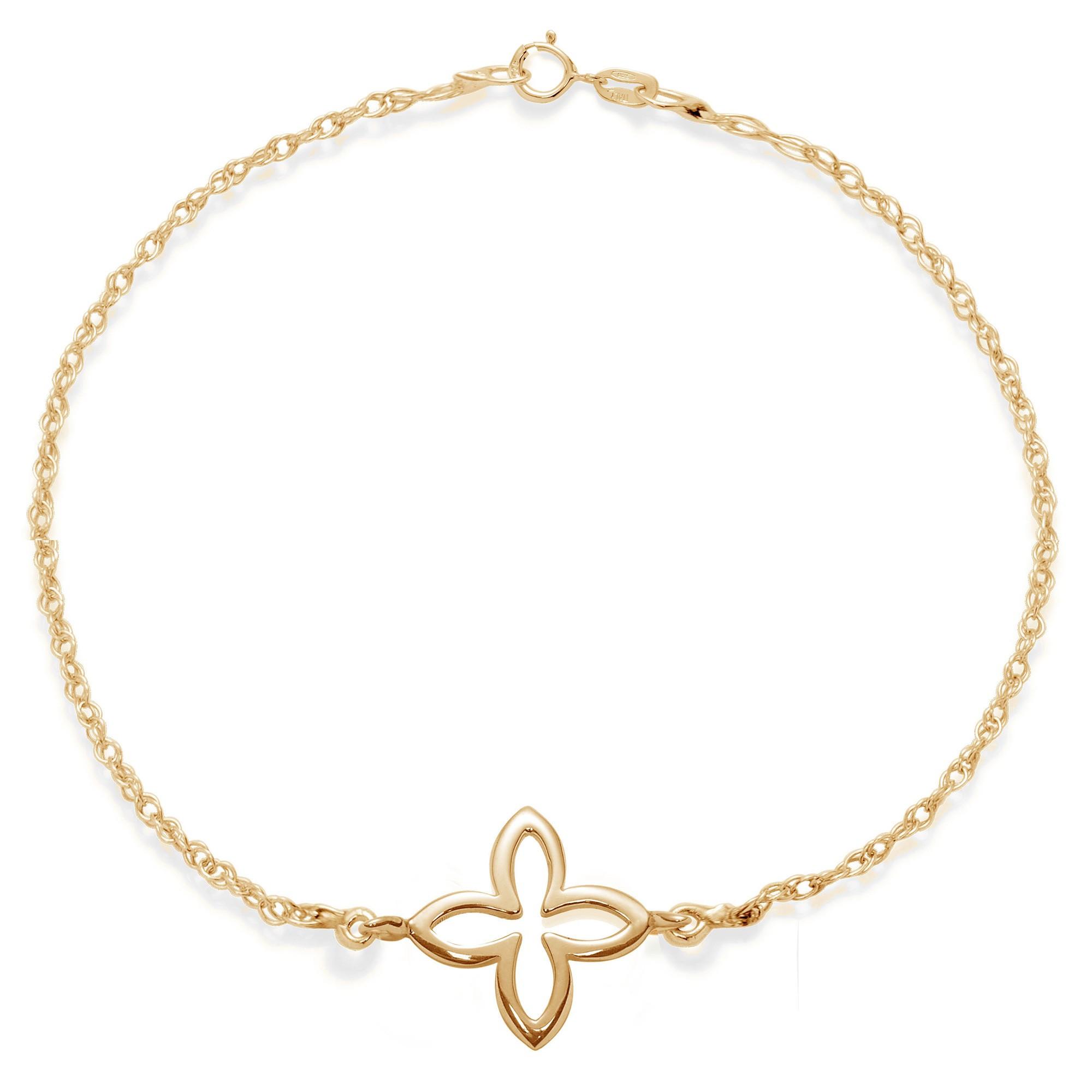 Bracelet chaîne avec une fleur de lys ajourée plaquée or