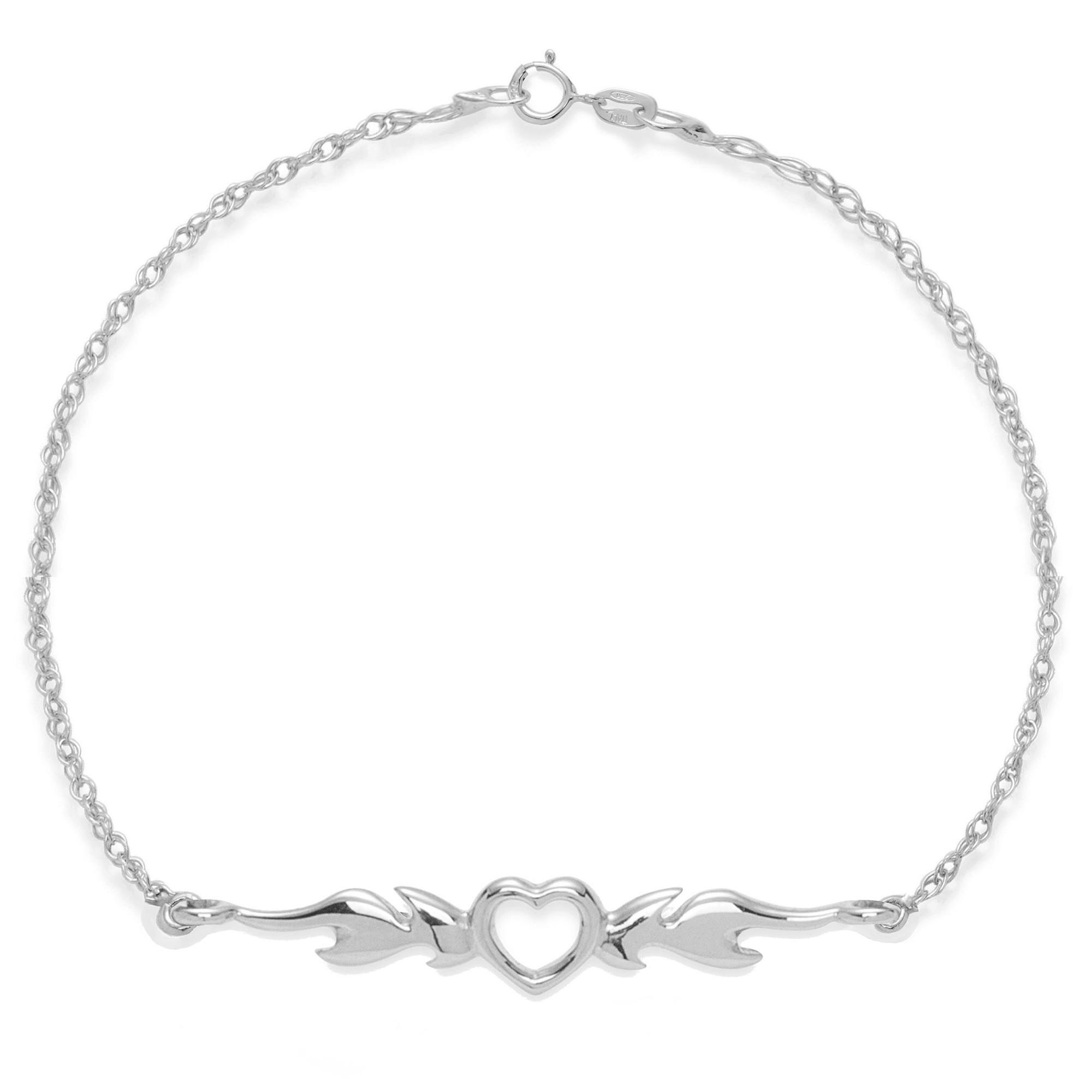 Bracelet chaîne Cœur enflammé en argent