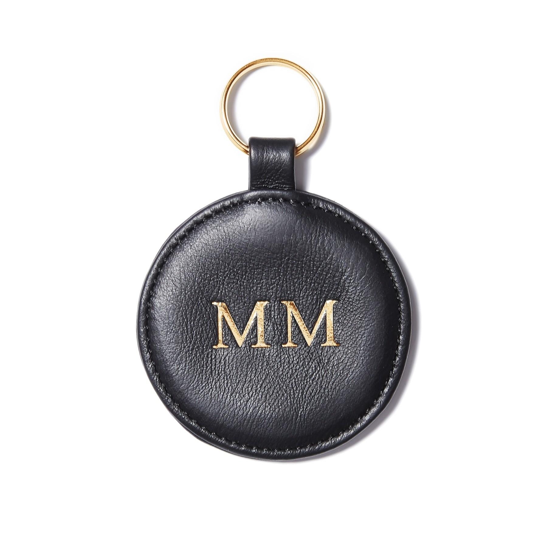 Porte-clé personnalisé en forme de médaillon, noir, anneau couleur or