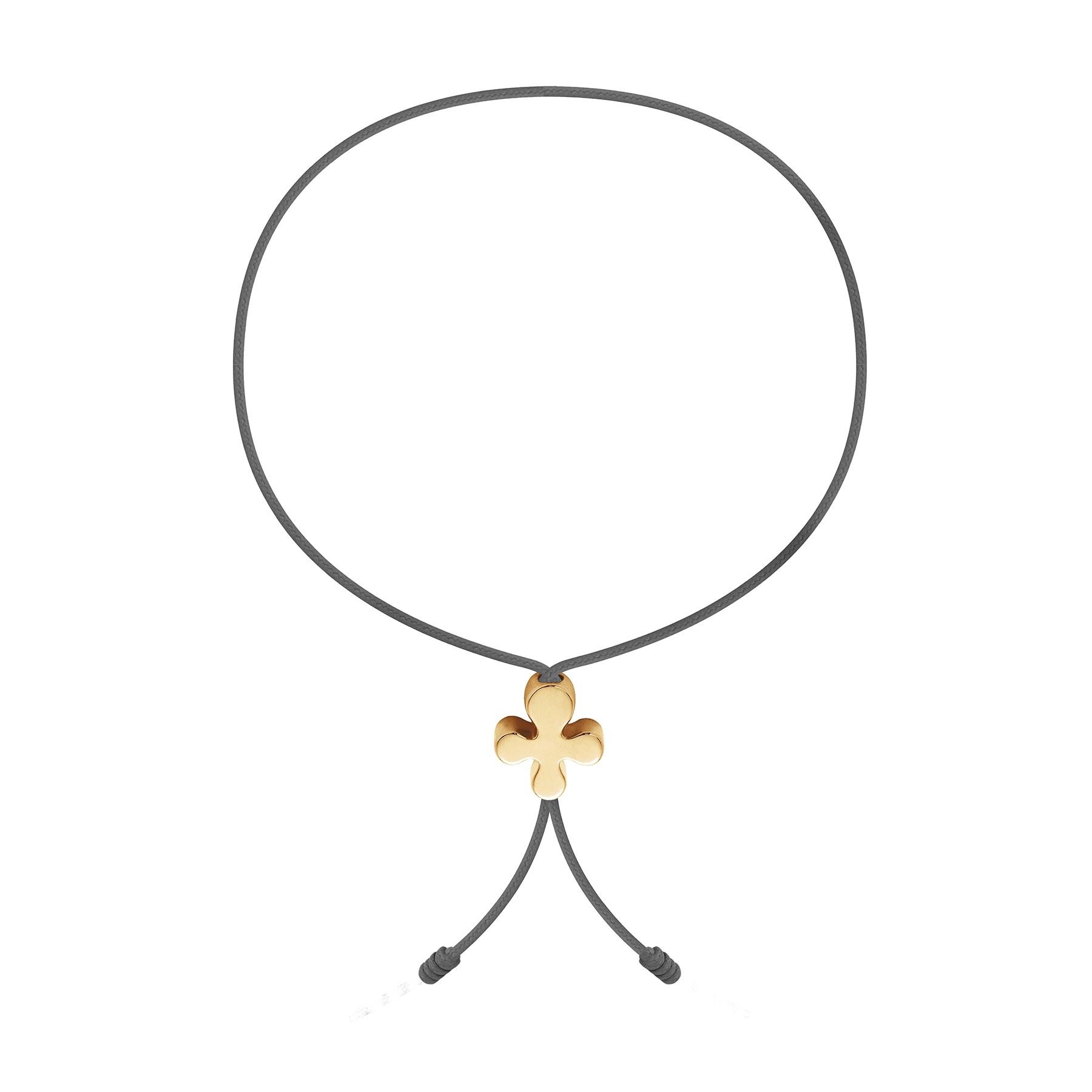 Bracelet avec Clover Lock en or poinçon 585 sur un cordon fin gris foncé