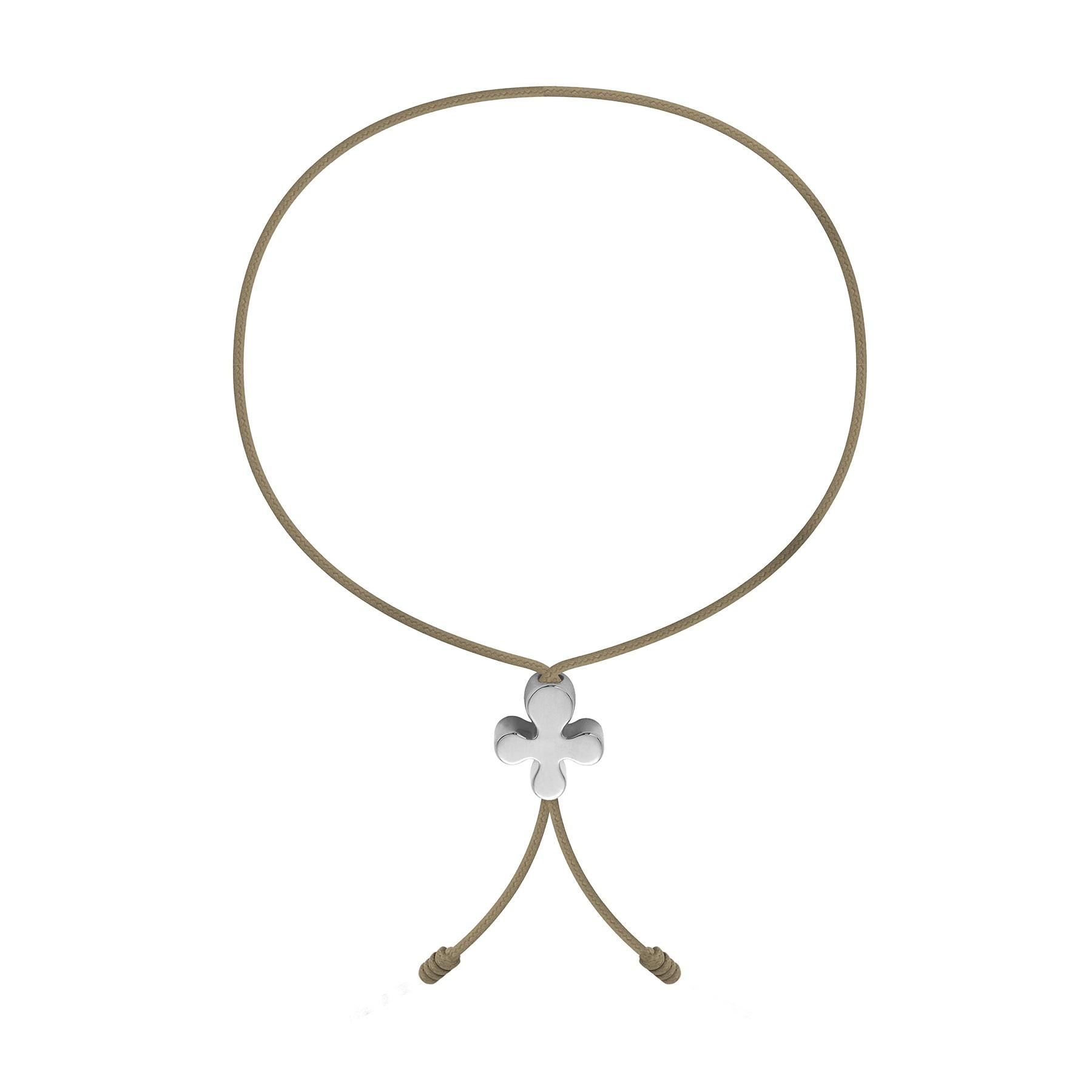 Bracelet avec Clover Lock en or blanc poinçon 585, de 1 cm sur un cordon fin de couleur de cappuccino clair