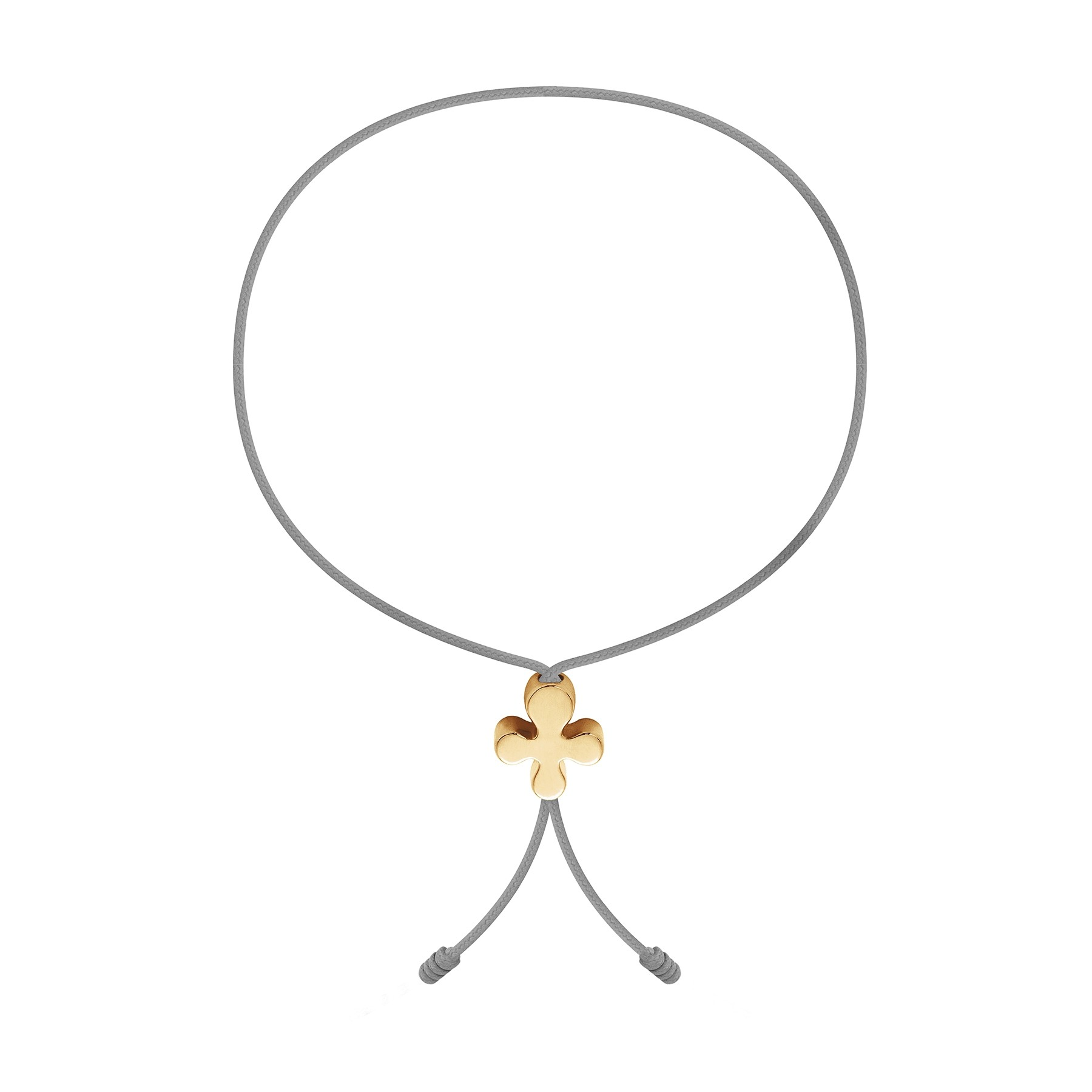 Bracelet avec fermoir Trèfle en or 585 sur un cordon fin gris clair