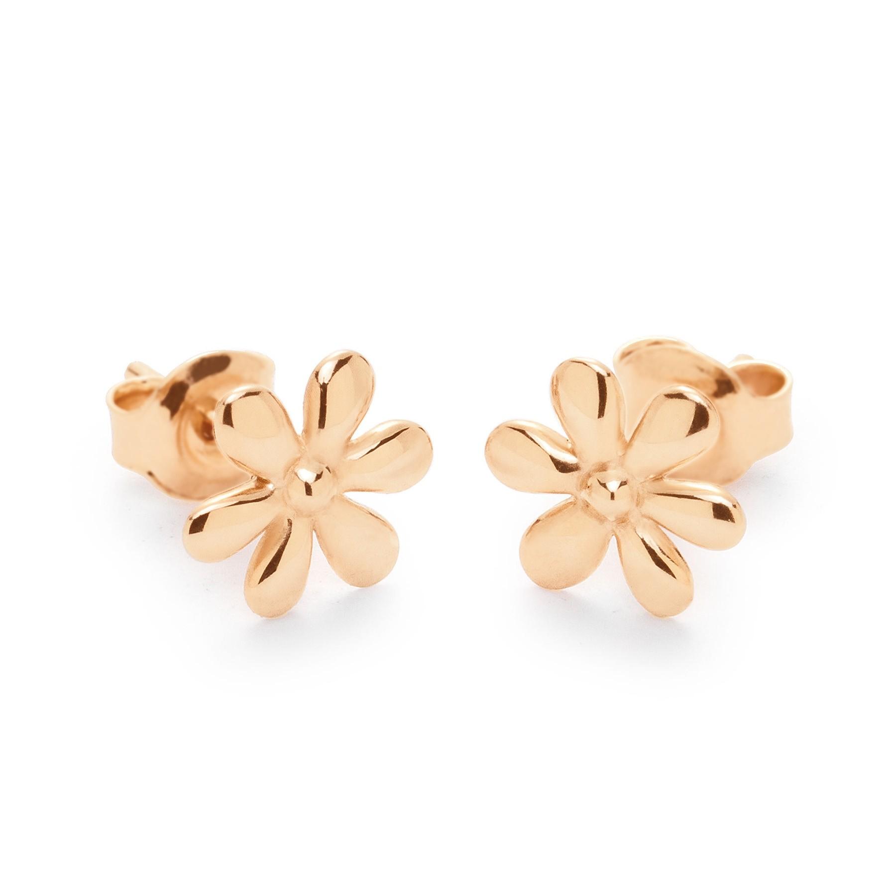 Boucles d'oreilles puces Flowers plaquées or