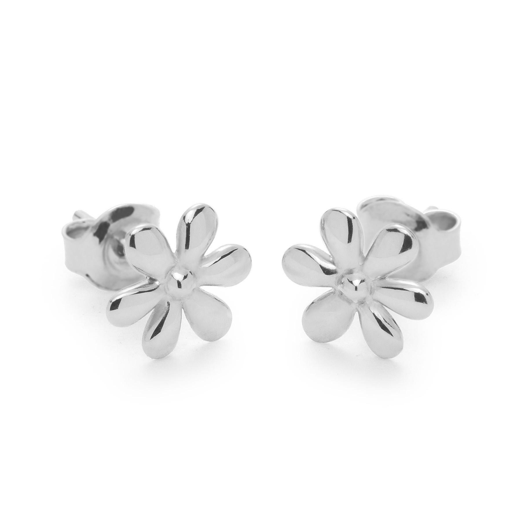 Boucles d'oreilles puces Flowers en argent