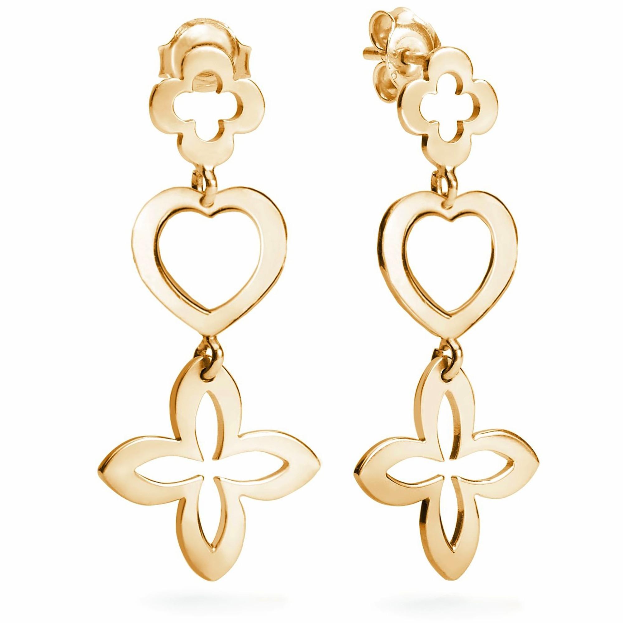 Boucles d'oreilles ajourées 3 éléments trèfle en plaqué or