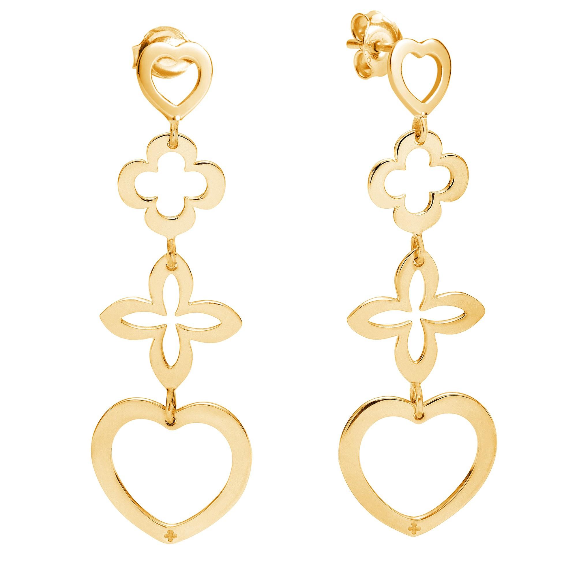 Boucles d'oreilles ajourées 4 éléments coeur plaqué or