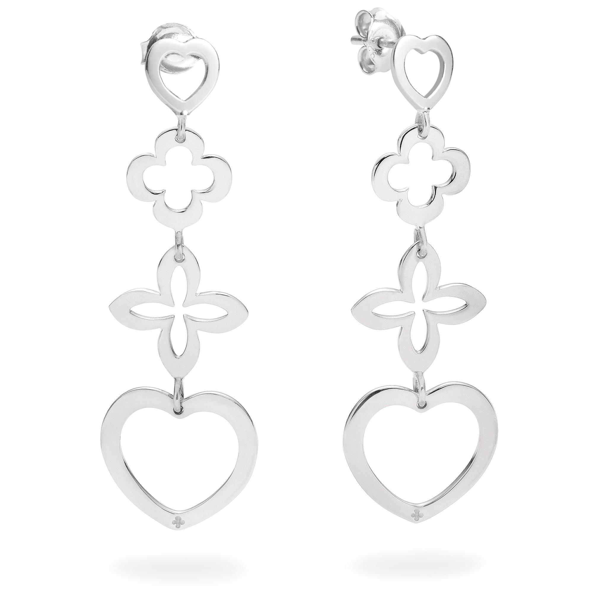 Boucles d'oreilles ajourées 4 éléments cœur argent