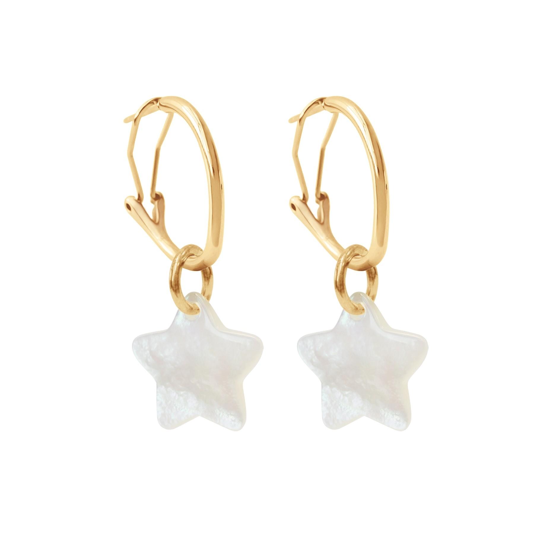 Boucles d'oreilles créoles 2 cm avec étoiles, plaqué or/nacre