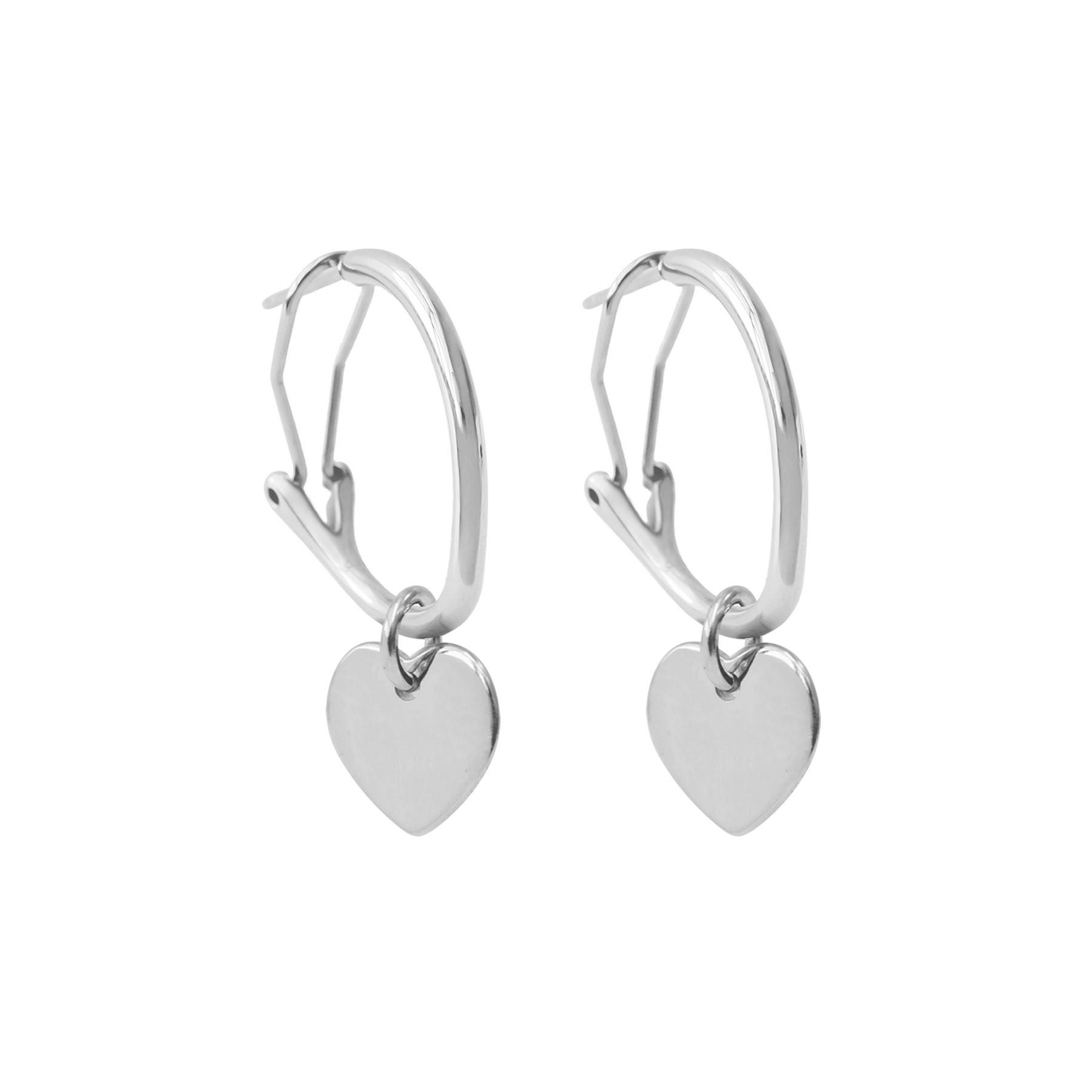 Boucles d'oreilles créoles 2 cm avec coeurs, plaqué argent/argent
