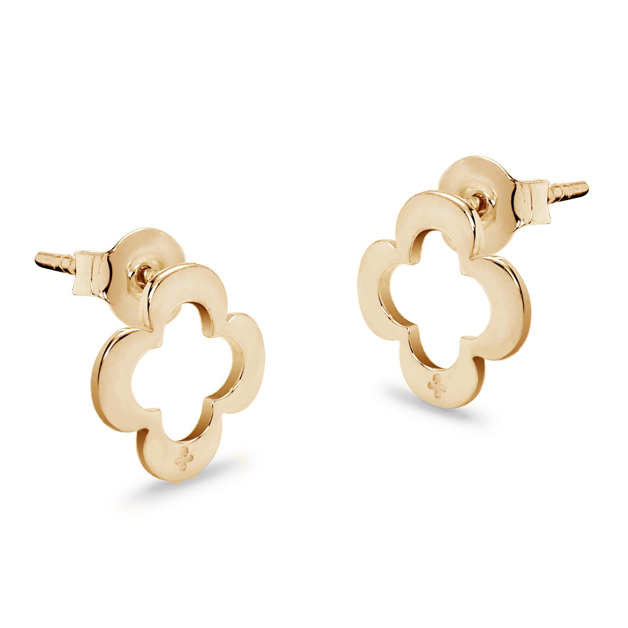 Boucles d'oreilles trèfle ajourées en plaqué or