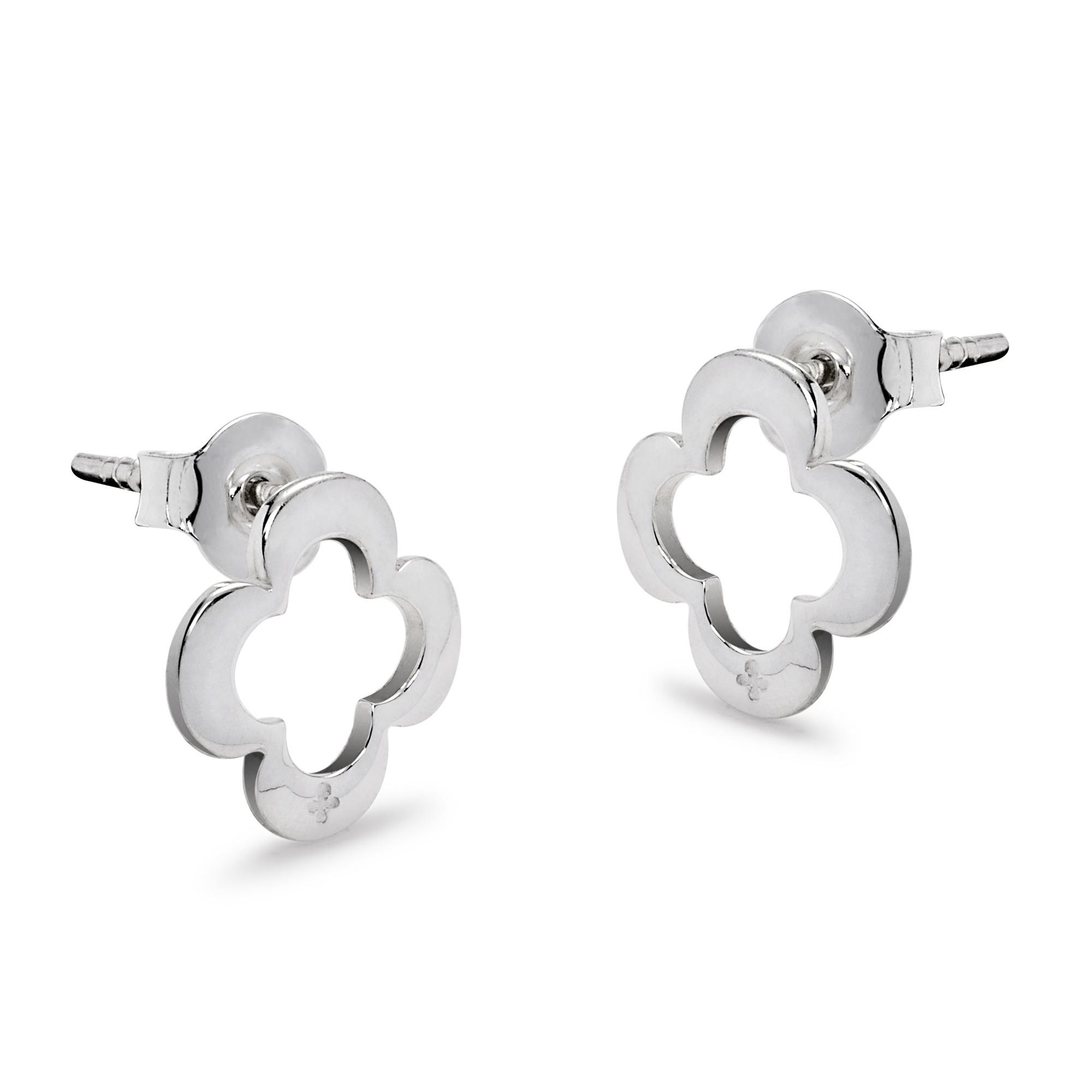 Boucles d'oreilles trèfle ajourées en argent