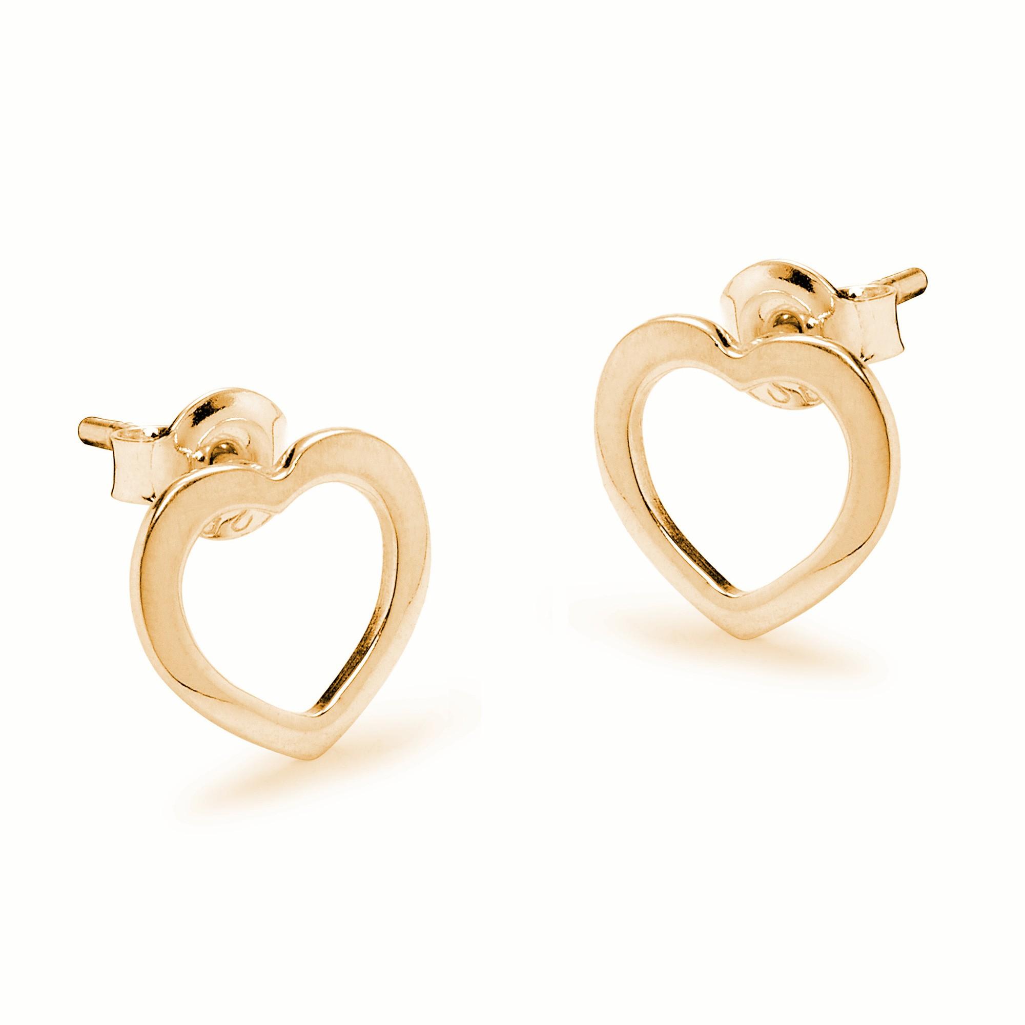 Boucles d'oreilles cœur ajourées en plaqué or