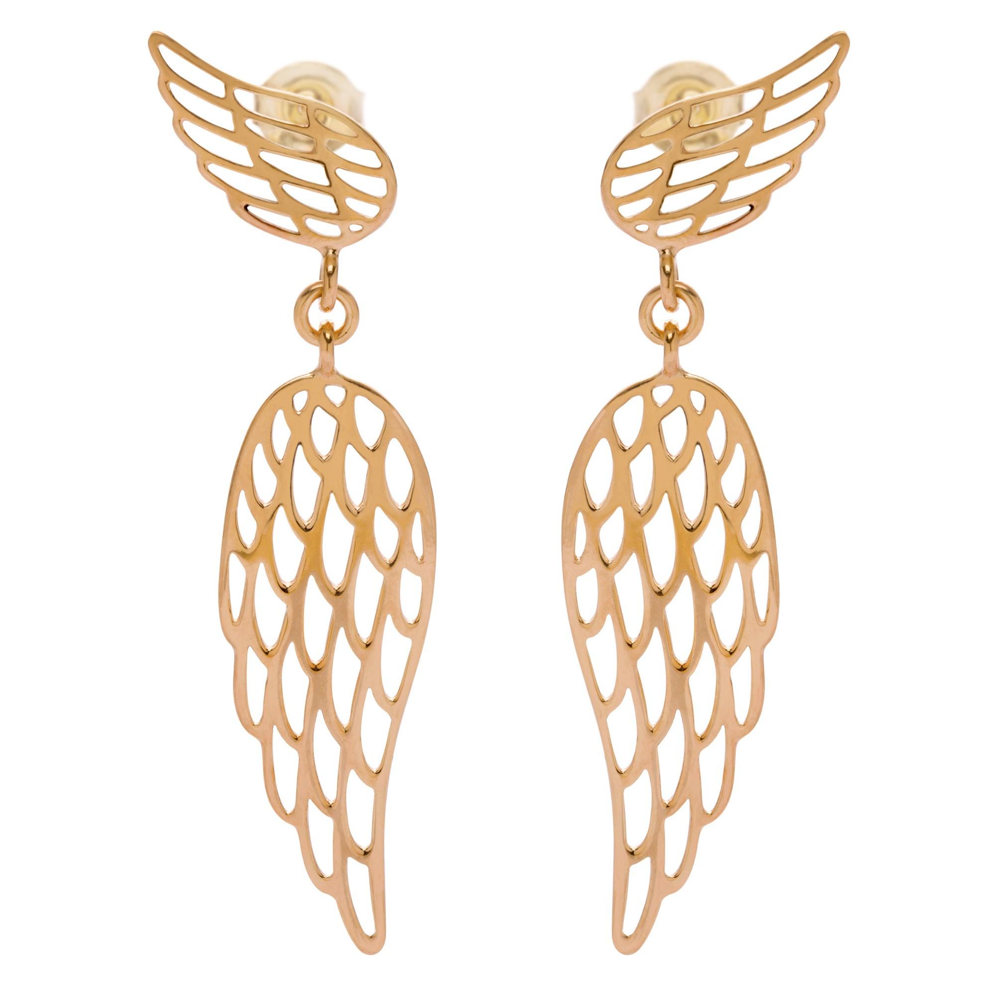 Boucles d'oreilles pendantes ailes en plaqué or