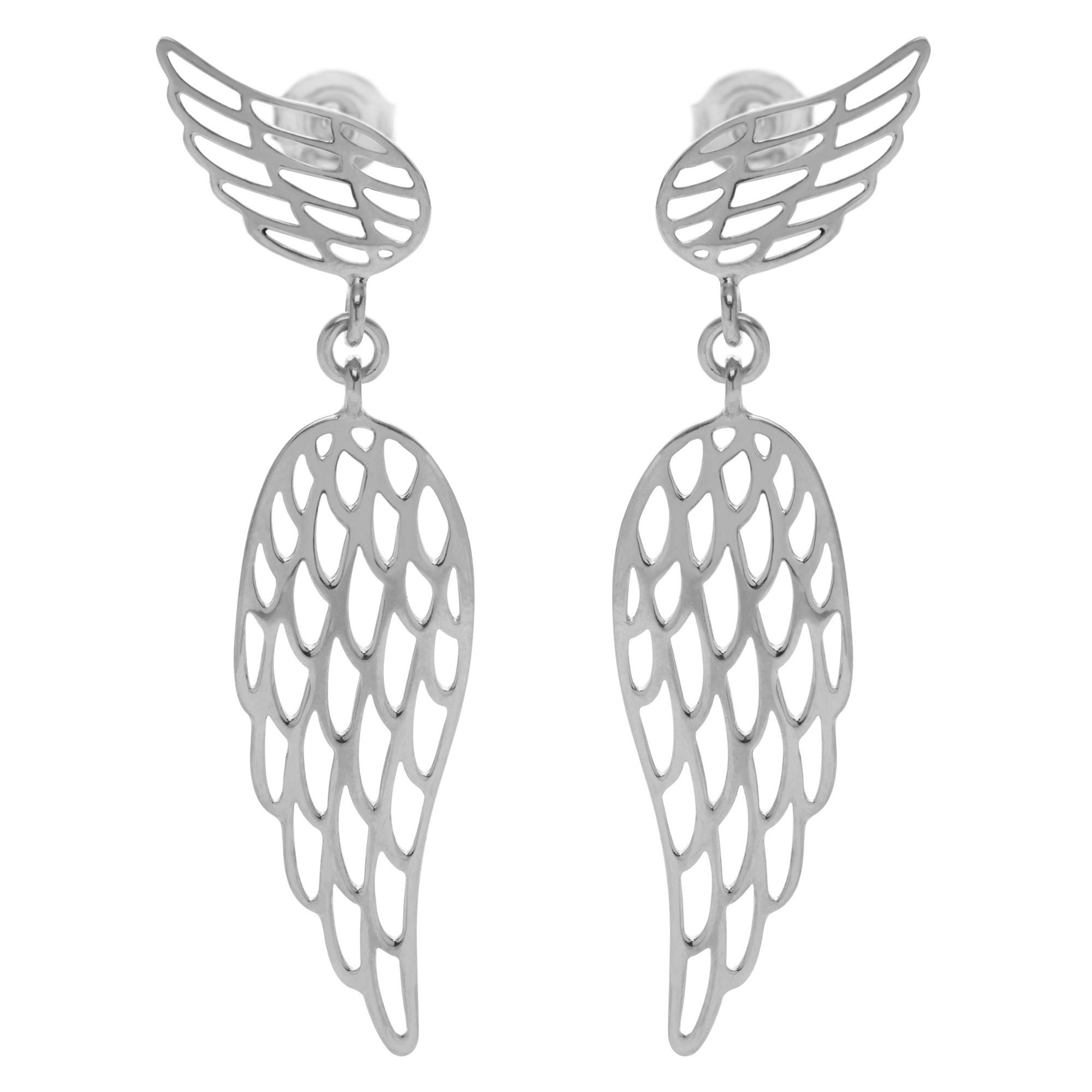 Boucles d'oreilles pendantes ailes en argent