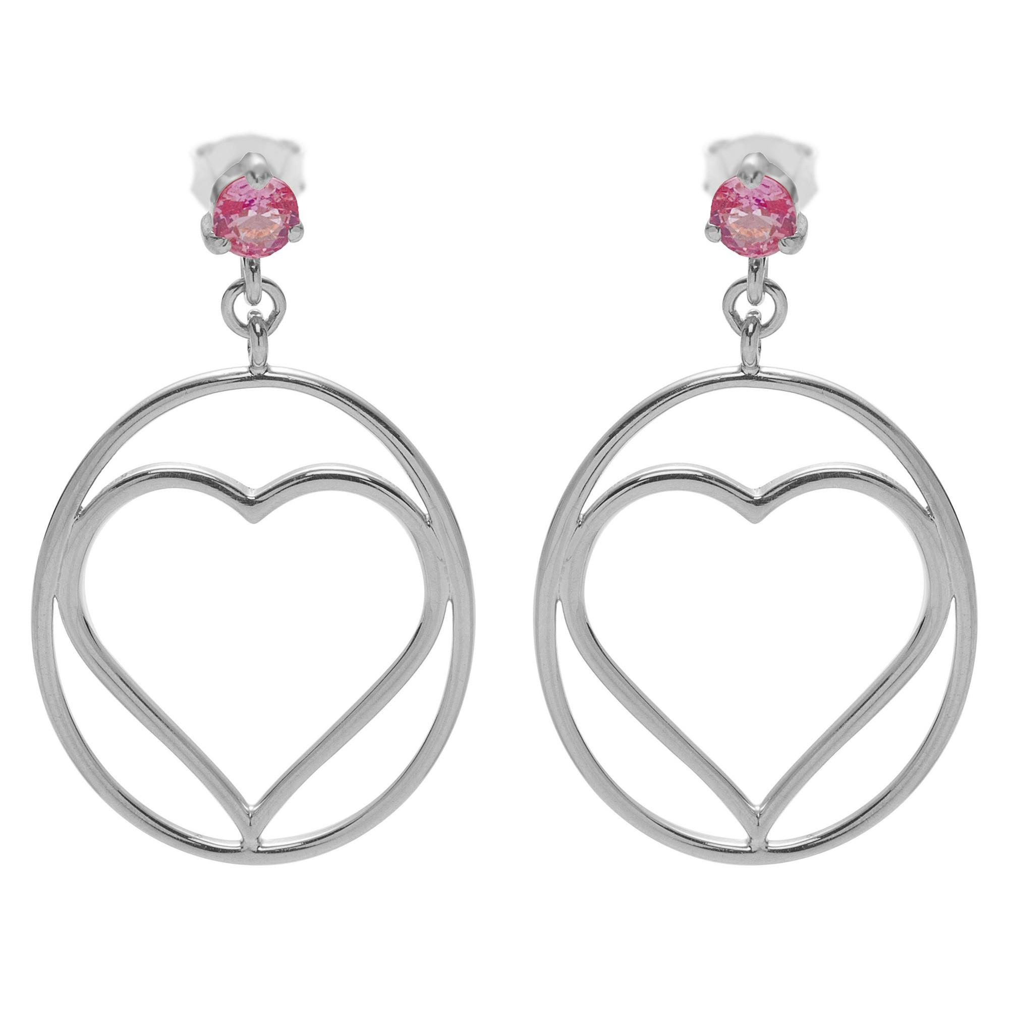 Boucles d'oreilles saphir rose cœur encerclé en argent